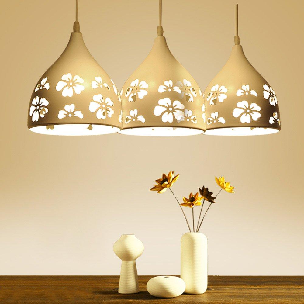 Modern White Flower Hollow Out Restaurant Pendant Light Simple