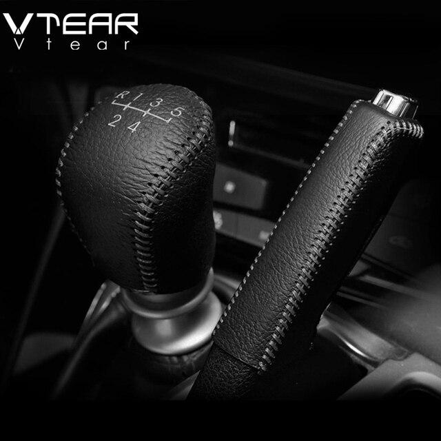 Vtear для hyundai Solaris 2 переключения передач воротники ручные тормоза ручки интерьер автомобиля-Стайлинг ручной тормоз крышка ручной работы accessoris