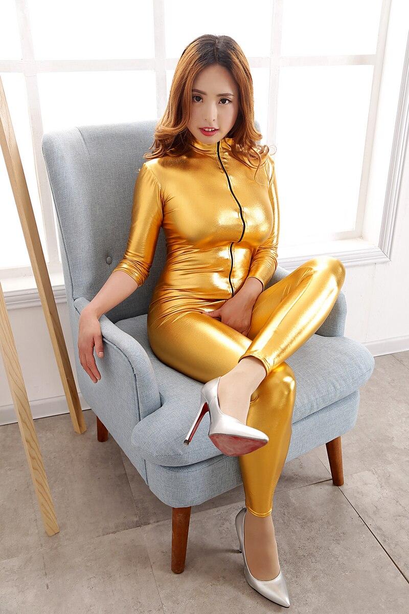 YUAYXEA Erotic Leather Bondage Lingerie for Women Black Vinyl Zipper Catsuit Body Suit Open Crotch Jumpsuit Pole Dance Clothes