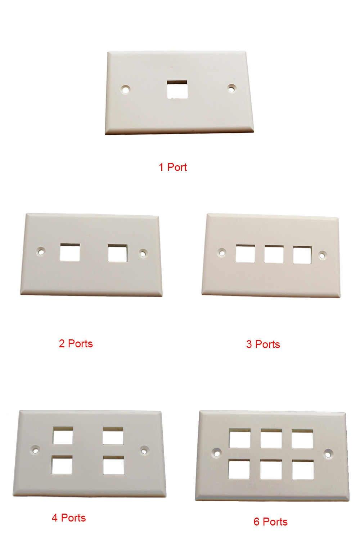 2 adet 1/2/3/4/6 portlu ağ Faceplate 120 tipi amerikan tipi duvara monte keystone Jack, fiş, yüzey kutusu