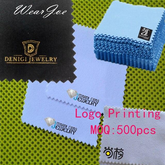 Paño de microfibra para limpieza de joyas, tela de microfibra antideslustre, con logotipo a medida, disponible en 12 colores, plateado y dorado, 500