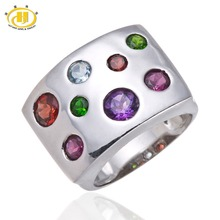 Stable 925 Sterling Silver Amethyst Garnet Chrome Diopside Gemstone Ring for Ladies's Effective Jewellery