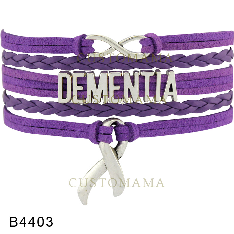 Custom Purple Infinity Love Dementia Syndrome Hope Awareness Ribbon Multilayer Bracelet Gift For Fighters Leather In Charm Bracelets From Jewelry