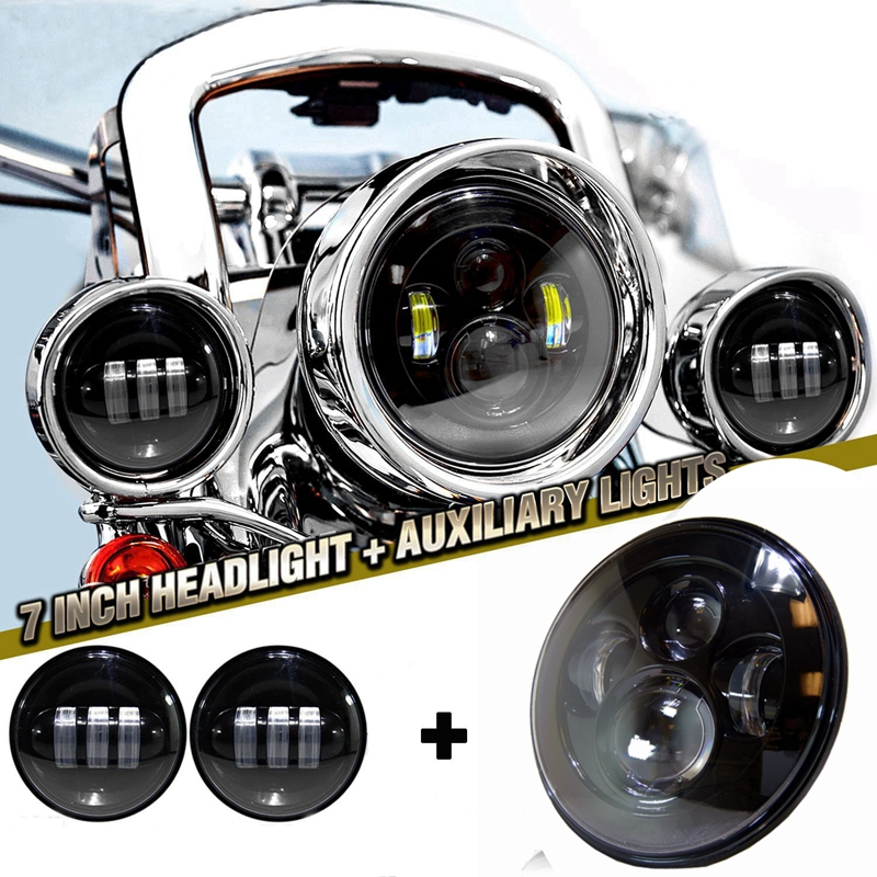 7 LED Projector Daymaker Headlight + 2x 4-1/2 LED Auxiliary Spot Fog Passing Light Lamp For Harley Motorcycle 4 1 2 led spot fog passing motorcycle light dot ce body material aluminum die cast housing bike headlight body color black