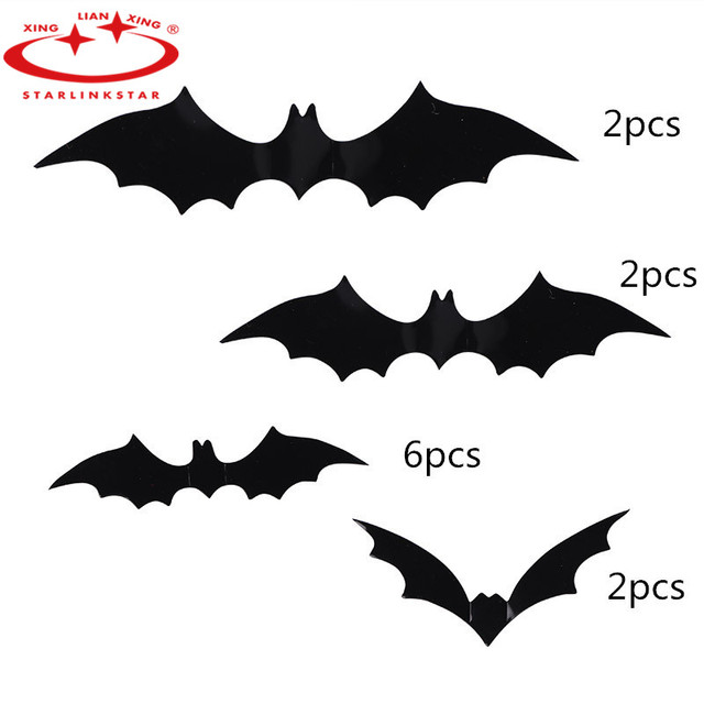 12Pcs/Pack 2019 Halloween Decoration DIY PVC Black Bat Wall Sticker Atmosphere All Saints' Day Decorative Supplies