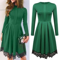 New Elegant Women Lace Splicing Dress Slim Casual Long Sleeve O-Neck Pleated Dress S-XL