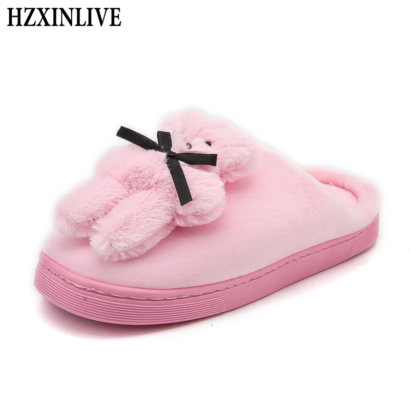 992d349b212e4 US $10.92 50% OFF|HZXINLIVE 2018 Winter Indoor Women Slippers Corduroy Cute  Bear Home Slippers Animal Prints Short Plush Warm House Women Shoes-in ...