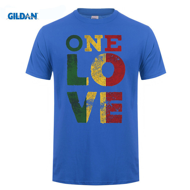 GILDAN 100% Cotton O-neck printed T-shirt One Love T Shirt Rasta Reggae Men Women Kids Gift Tee Shirts