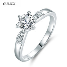 GULICX New Fashion Wedding Bands White Gold-color Ring Round White Cubic Zirconia CZ Band Engagement Ring For Women R108(China)