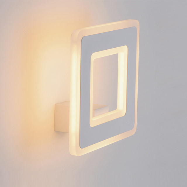 Study Room W Mirror Led Wall Lamp Modern Square Led Luminaria Wall - Square bathroom sconce