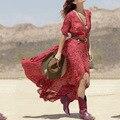 Горячие Продажа Лето Sexy Women Boho V-образным Вырезом Цветочным Принтом Сплит длинные Maxi Dress Случайные Дамы 3/4 Рукавом Туника Пляж Dress CL2571