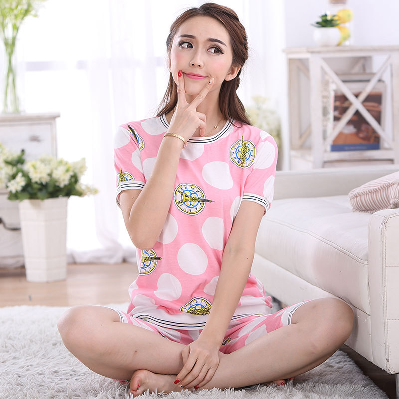 fc97180639 Cute Sweet Girl Cotton Pajamas Sets Young Women s Sleepwear Nightwear  Homewear Girls Pajamas Set Lounge Fashion Clothing