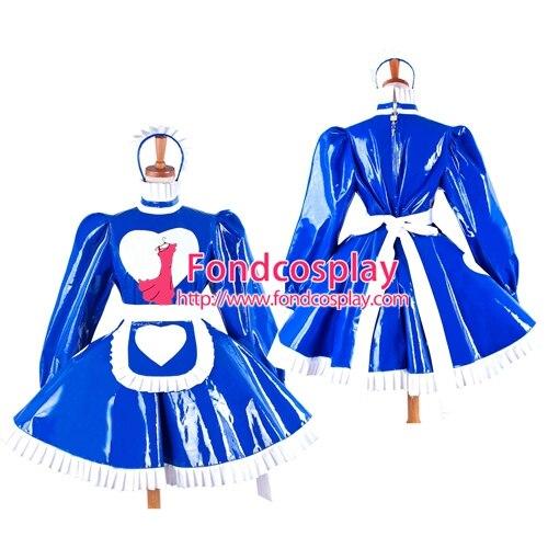 ПВХ платье горничной запираемый синий французской горничной униформа Сделанные на заказ [G1594]