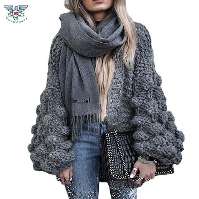 cd99fa122fd 2019 Autumn Winter Knitted Crochet Sweater for Women Chunky Oversize  Cardigan Coat Open Female Sweaters Cardigan Women Knitwear-in Cardigans  from Women s ...