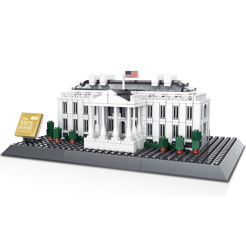 WANGE The White House Building Blocks Set Model Small Architecture Collection 2017 Classic Educational Toys For Children Gifts lego bionicle umarak the hunter architecture building blocks model kit plate educational toys for children l71310