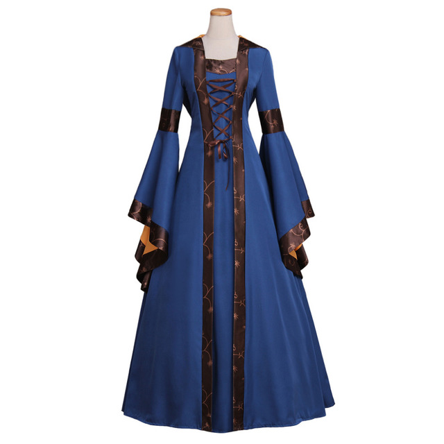 Women\'s Tailed Lace up Trumpet Sleeve Victorian Medieval Dress Blue ...