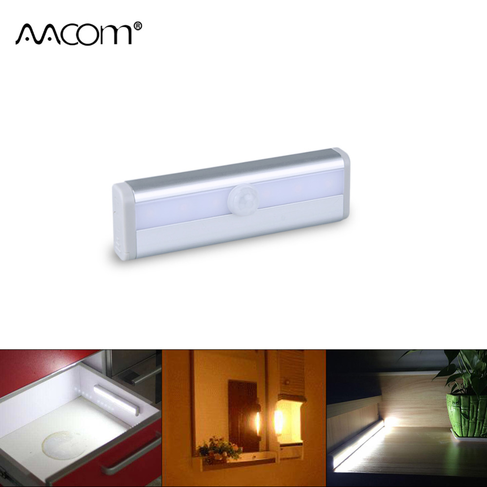 PIR Motion Sensor LED Under Cabinet Light 6 LEDs Human Motion Activated On Off LED Wall Lamp Stairs Kitchen Wardrobe lighting