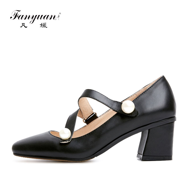 Fanyuan Shoes Women Mary Jane Pumps Hook Loop Thick Low Heels Square Toe 2018 Summer Lady Genuine Leather Pearl Pumps Big Size hp 2530 8