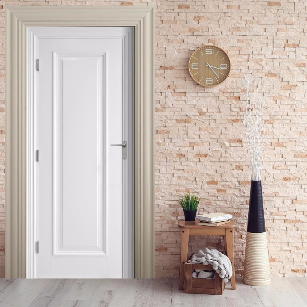 Free shipping 3D white simply wooden Door Sticker for Bedroom Living ...