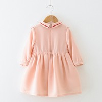 New Long Sleeve Girl Dress Cotton Children Infant Girls Ruffles Dress Slim Clothes Party Formal Casaul Outfits Drop Shipping