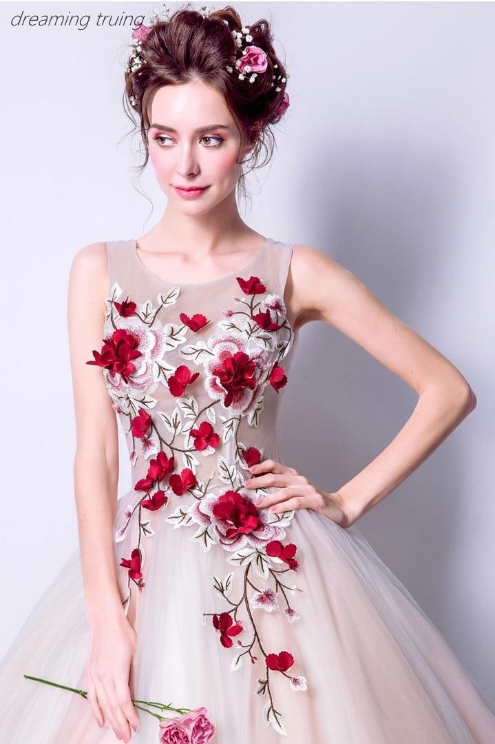 Rouge 3D fleur Quinceanera robes Vestidos De 15 Anos robes pour Quinceaneras fête Robe De Bal fille douce 16 robes Robe De Bal - 3