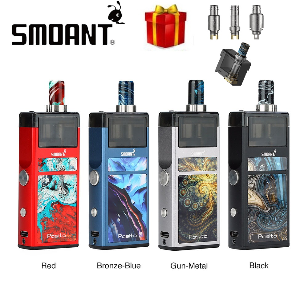 Original Smoant Pasito Pod Vape Kit MTL & DTL RBA Coil Vaporizer With 3ml Pod Cartridge Electronic Cigarette Kit