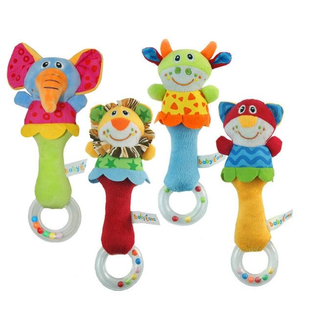 Nieuwe Ontwerp Pluche Baby Speelgoed Dier Hand Bells Baby Rammelaar Speelgoed Hoge Kwaliteit Newbron Gift Dier Stijl Gratis Verzending BF01 1