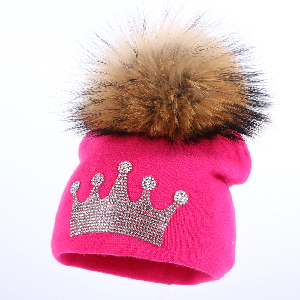 ecca51ee52d ... become a rattle after a baby had finished its meal 0 2 year old baby  casual winter hat children crown beanies real mink pompom lovely boy girl  skullies ...