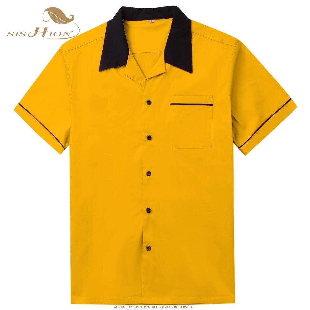 SISHION Bowling Shirt Short Sleeve Classic Retro Shirt ST117Y Yellow Red Cotton Mid-century Inspired Style Men Shirts