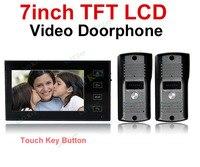 1 stücke monitor 2 stücke outdoor kamera ultradünne 7 TFT Farbe Video Intercom System mit Touch Key freies verschiffen-in Videosprechanlage aus Sicherheit und Schutz bei