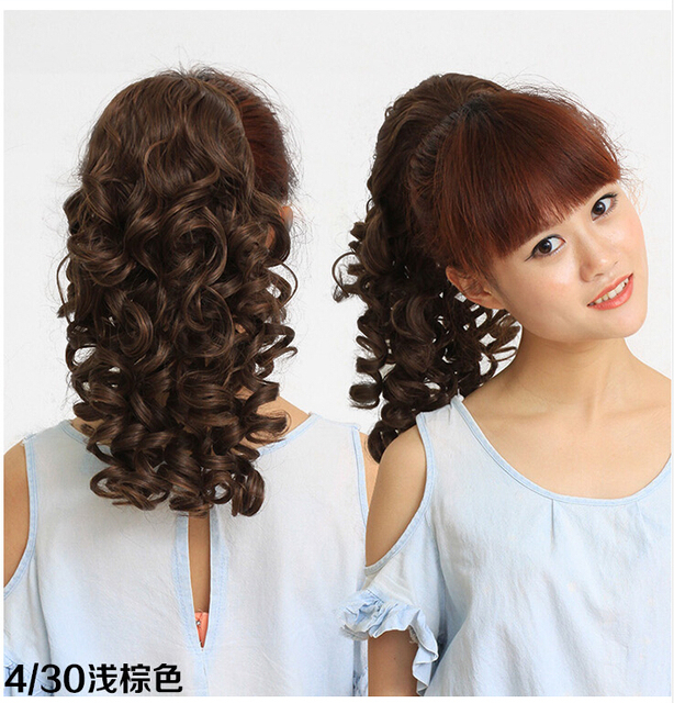 Fashion Wig Female Small Volume Fake Ponytail Thick Curly Hair Bind Type Pear Flower Waves