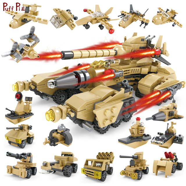 580pcs City Military WW2 16 In 1 Super Fire Tiger Tank Building Blocks Compatible With Legoed Army Kit Toys For Children Gifts