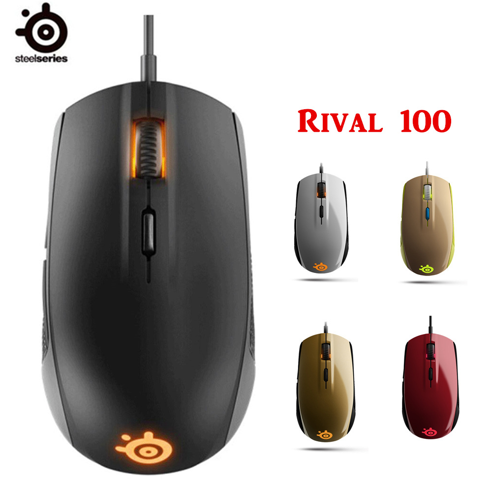 100% Original NEW SteelSeries Rival 100 Gaming Mouse Mice USB Wired Optical 4000DP With original package 100%original steelseries gaming mouse rival fnatic edition usb wired 6500dpi optical gaming mice steelseries mouse free shipping