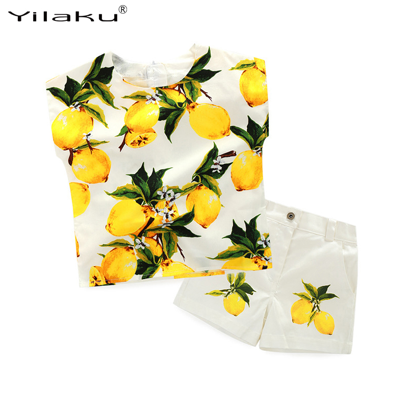 1dd1c1bce8dd10 New Girls Summer Clothes Set Kids Lemon Print Clothes for Girl Top+Short Pant  Suit Girls Children Casual Clothing Set CF451-in Clothing Sets from Mother    ...