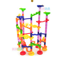 Montessori Toy 105PCS DIY Construction Marble Race Run Maze Balls Track Building Blocks Children Gift Baby