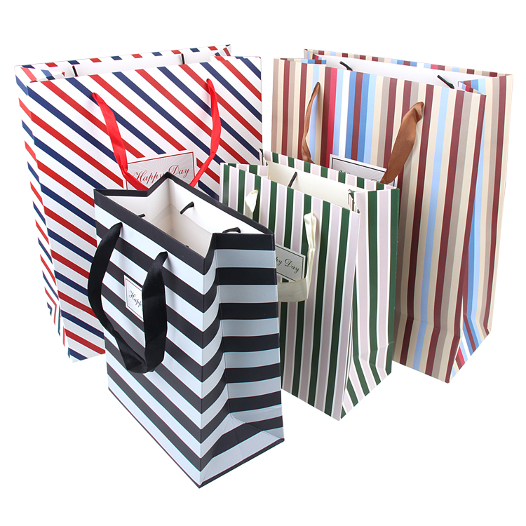 5pcs Stripe Horizontal Paper Gift Bags 33x26x12cm Middle Size Cloth Candy Chocolate Gift Packing For Fashion Shop Boutiques