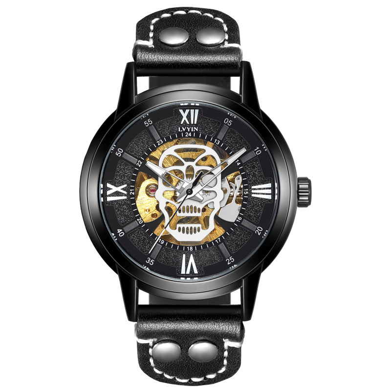 mens wristwatches skull Automatic mechanical luxury lvyin man brand watches waterproof leather man watches Citizen movementmens wristwatches skull Automatic mechanical luxury lvyin man brand watches waterproof leather man watches Citizen movement