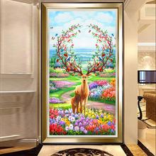 Youran Hot Sale Full Sqaure / Round Diamond Embroidery Kit Deer Floral Landscape Mosaic Pattern DIY Home Decor Painting