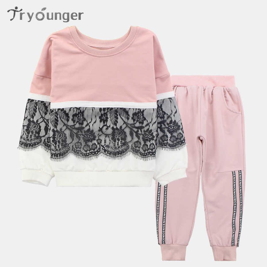 353f7bb2b48 Детская одежда весна кружевной комплект для девочек Повседневное Детская  одежда
