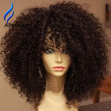 Kinky Curly 180 Density Full Lace Wig Human Hair Lace Front Wigs Black Women Brazilian Full Lace Wigs With Bangs Kinky Curly Wig