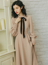 2019 新ファッション女性のドレス春フレンチレトロスリム腰基本ドレス