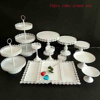 13pieces Cake Stand White Metal Wedding Cake Tools Cupcake Decoration Tray For Party Event Dessert Candy