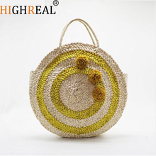 Circle Straw Bags Handmade High Quality Beach Handbags for Women Summer Travel Tote Hand Bag Holiday Beach Bag Vintage Travel
