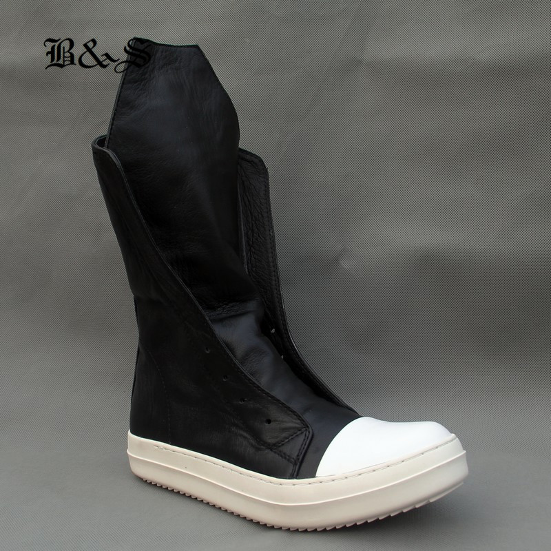 Rick Rock 2018 High TOP Women Boots Luxury Trainers Genuine Leather Boots Casual Sneaker Lace up Zip Flats Black White Shoes