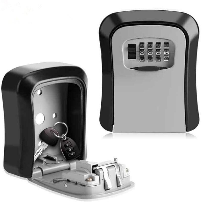 4 Digit Metal Outdoor Safe Key Box Key Storage Organizer Box Security Storage Lock Box Outdoor Wall Mount Case Storage Tools