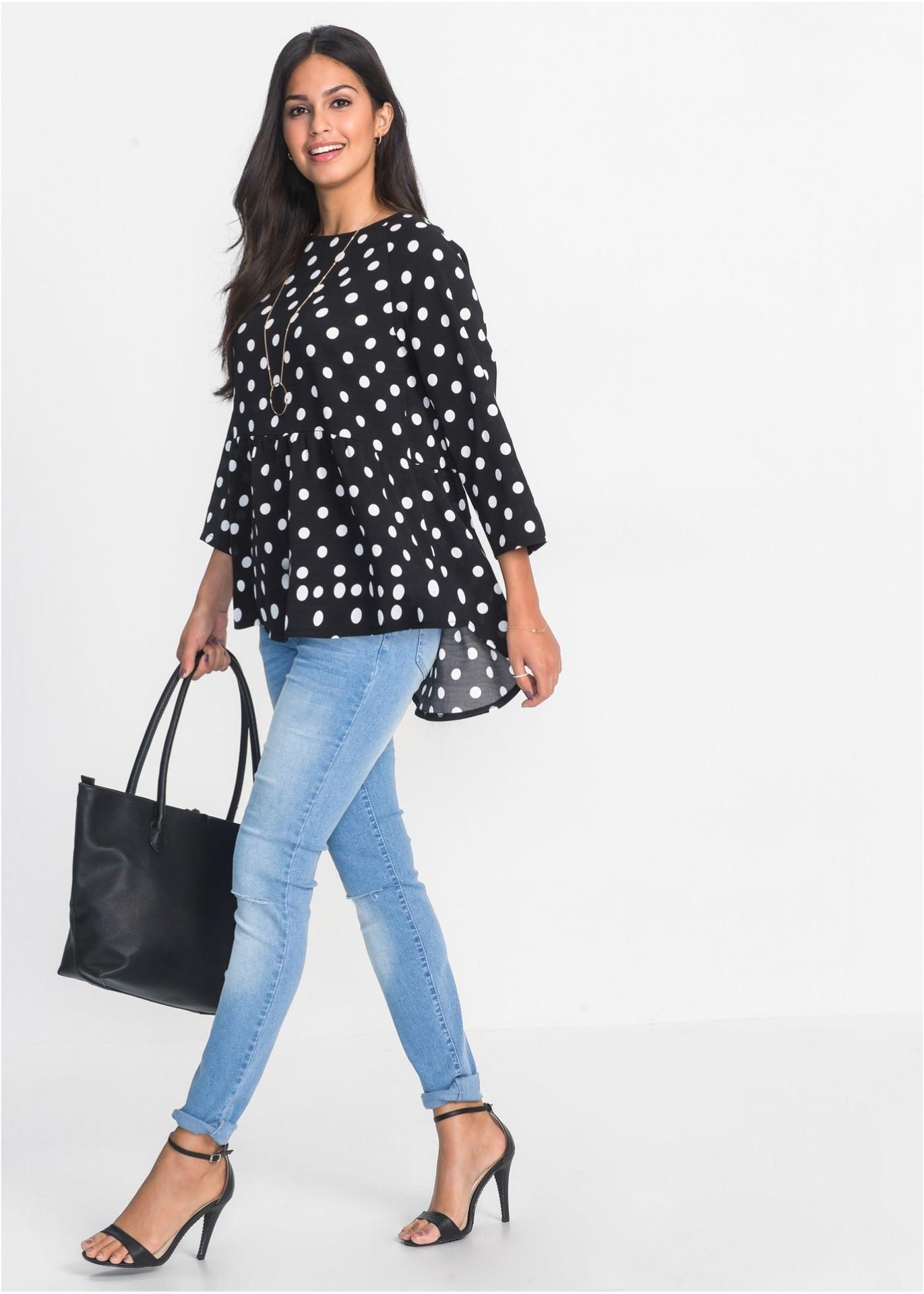 9cf70772132 Black White Polka Dot Women Top Spring Autumn Long Sleeve Female Blouses  Shirt Loose Irregular Larger Women Top Tee Shirt Femme