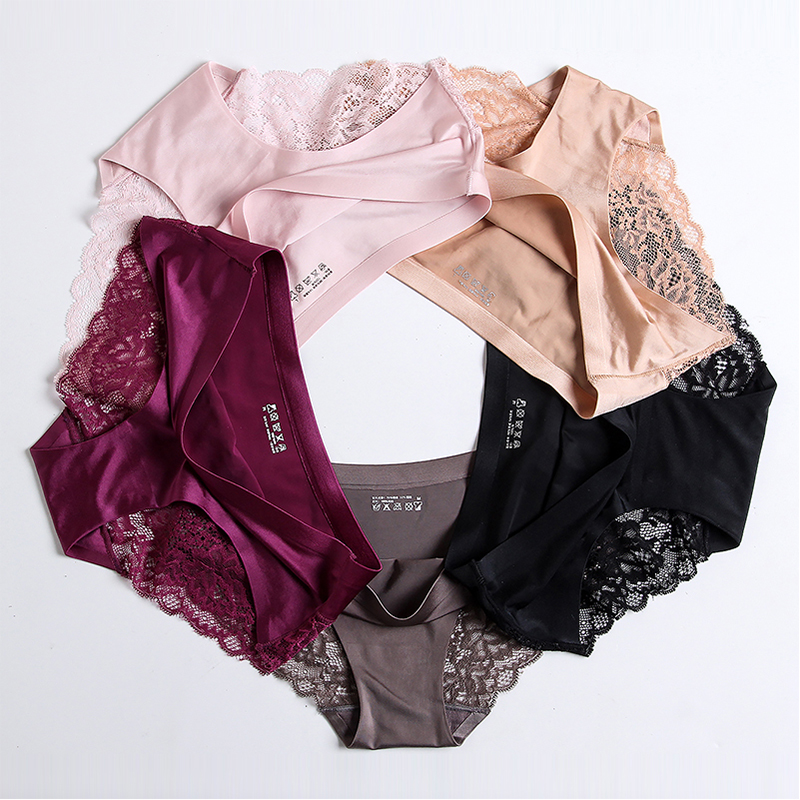 Sexy Lace   Panties   Seamless Women Underwear Briefs Nylon Silk for Ladies Cotton Transparent Lingerie 3 pcs set Drop Shipping
