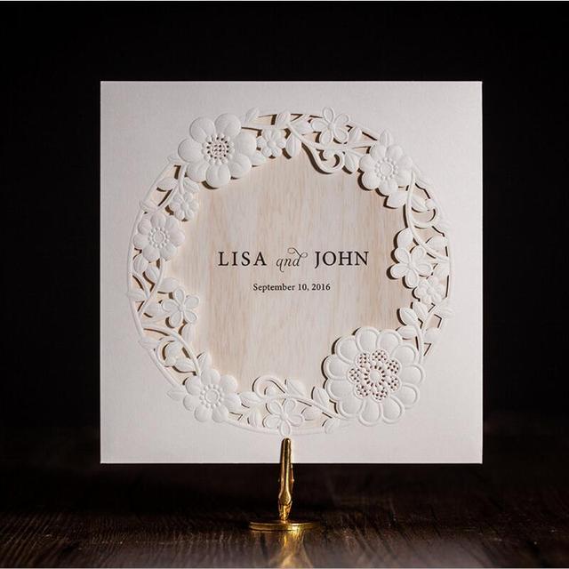 60 Pcspack Laser Cut Invitations De Mariage Ivoire Fleurs Papier Beauteous Stil Des Invitation De Mariage