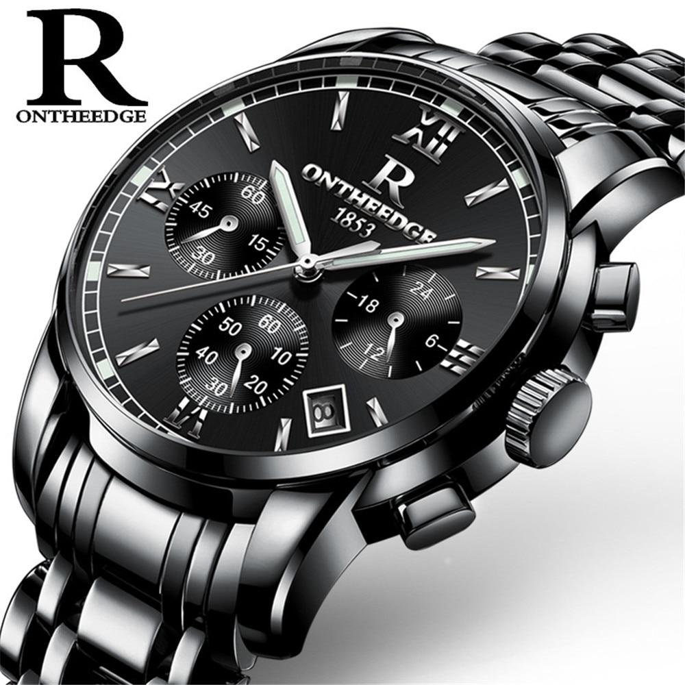 ФОТО 2017 New Luxury Watch Brand RON Quartz Watch Men Steel Fashion Clock With Complete Calendar Waterproof Multi Function Male Watch