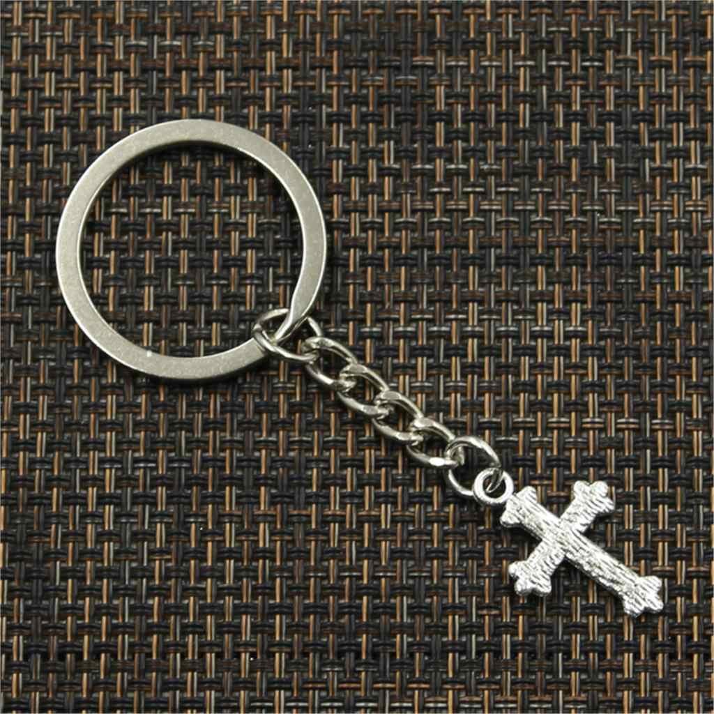 Novos homens da moda de alta qualidade chaveiro carro de metal DIY cadeia titular flor pingente cruz de prata para o Presente